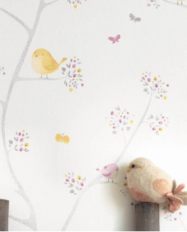Papier peint Casadeco My Little World Allover Oiseaux Jaune MLW29835236