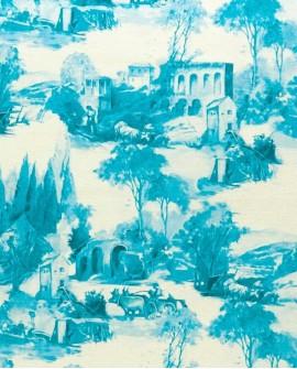Tissu Clarke & Clarke Colony Anastacia Bleu de Delft F0997/03