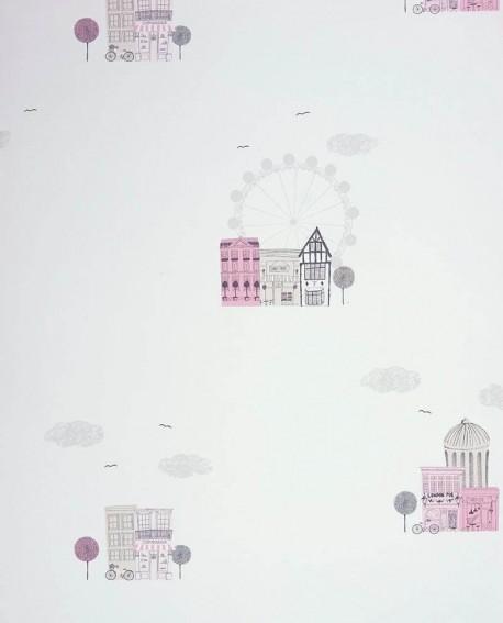 Papier peint Casadeco Alice & Paul Villes rose AEP28044325