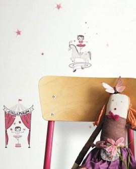 Papier peint Casadeco Alice & Paul Cirque rose irisé AEP28114435
