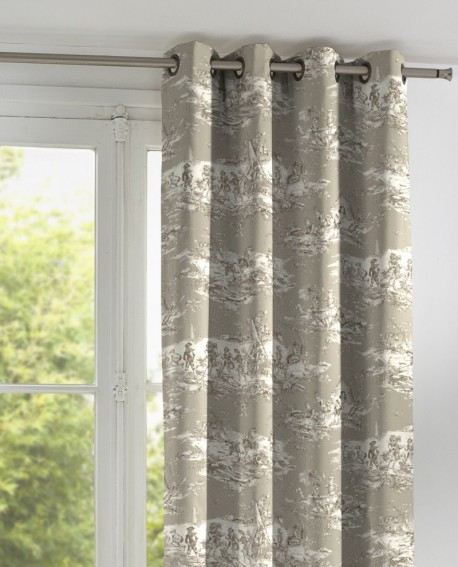 rideau toile de jouy thevenon histoire d 39 eau coloris s pia fond lin. Black Bedroom Furniture Sets. Home Design Ideas