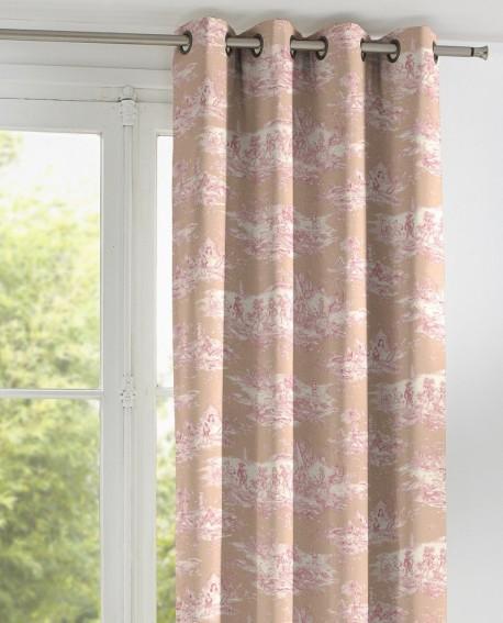 tissu toile de jouy thevenon histoire d 39 eau coloris fond rose ref 609918a. Black Bedroom Furniture Sets. Home Design Ideas