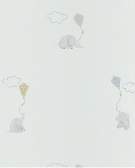 Papier peint Casadeco My Little World Elephants Bleu MLW29736317