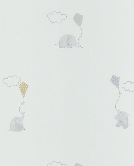 Papier peint Casadeco My Little World Elephants Bleu MLW29736317