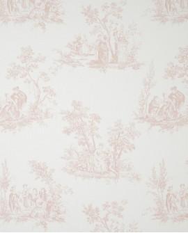 Tissu Casadeco Toile de Jouy Fontainebleau Scène Bucolique Rose FONS81724125