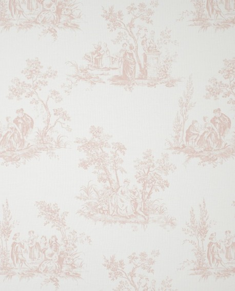 tissu toile de jouy rose fons81724125. Black Bedroom Furniture Sets. Home Design Ideas