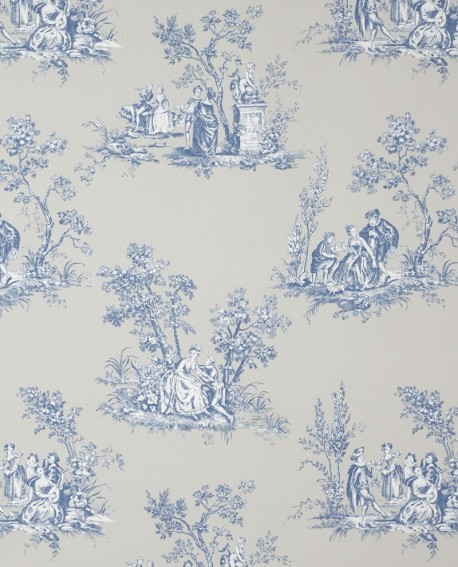tissu casadeco toile de jouy bleu porcelaine fons81726505. Black Bedroom Furniture Sets. Home Design Ideas