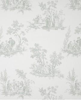 Tissu Casadeco Toile de Jouy Fontainebleau Scène Bucolique Vert amande FONS81727112
