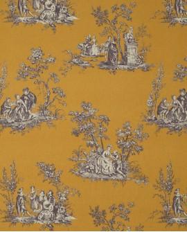 Tissu Casadeco Toile de Jouy Fontainebleau Scène Bucolique Lin Jaune FONS81732102