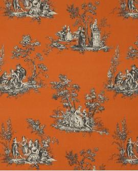 Tissu Casadeco Toile de Jouy Fontainebleau Scène Bucolique Lin Orange FONS81733109