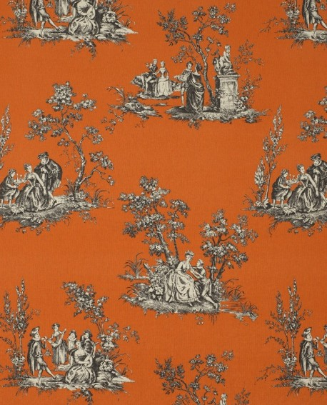 tissu casadeco toile de jouy lin orange fons81733109. Black Bedroom Furniture Sets. Home Design Ideas