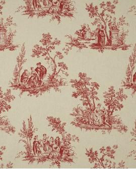 Tissu Casadeco Toile de Jouy Fontainebleau Scène Bucolique Lin Rouge FONS81738126