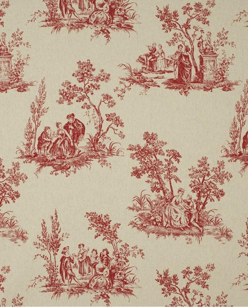 tissu casadeco toile de jouy lin rouge fons81738126. Black Bedroom Furniture Sets. Home Design Ideas