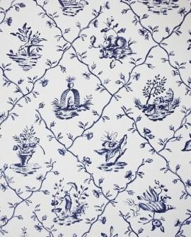 Papier Peint Toile de Jouy Charles Burger Pillement Bleu