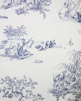 Papier Peint Toile de Jouy Charles Burger Robinson Crusoe Bleu