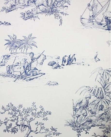 papier peint toile de jouy charles burger robinson crusoe bleu. Black Bedroom Furniture Sets. Home Design Ideas