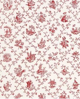 Papier Peint Toile de Jouy Charles Burger Pillement Rouge