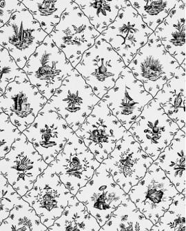 Papier Peint Toile de Jouy Charles Burger Pillement Noir