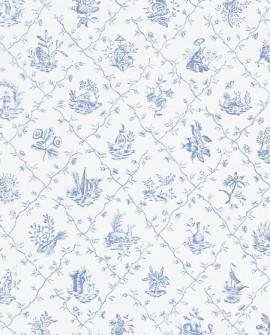 Papier Peint Toile de Jouy Charles Burger Pillement Bleu clair