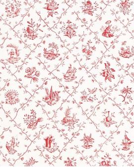Papier Peint Toile de Jouy Charles Burger Pillement Rose