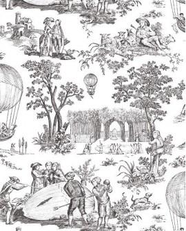 Papier Peint Toile de Jouy Charles Burger Ballon de Gonesse Noir