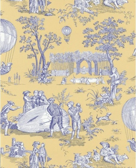 papier peint toile de jouy burger ballon de gonesse bleu jaune. Black Bedroom Furniture Sets. Home Design Ideas