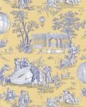 Papier Peint Toile de Jouy Charles Burger Ballon de Gonesse Bleu/Jaune
