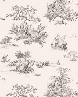 Papier Peint Toile de Jouy Charles Burger Robinson Crusoe Noir