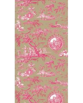Papier Peint Toile de Jouy Charles Burger Chasse de Diane Framboise/Olive