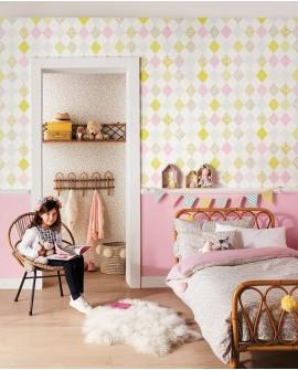 Papier peint Caselio Pretty Lili Losanges Rose et jaune 69167070