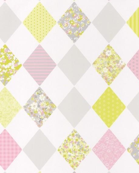 papier peint caselio pretty lili losanges rose et jaune 69167070. Black Bedroom Furniture Sets. Home Design Ideas