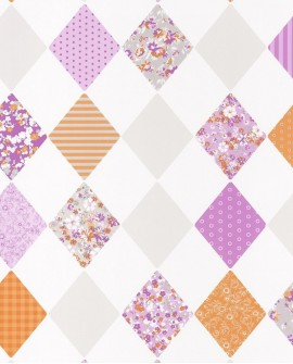Papier peint Caselio Pretty Lili Losanges Violet et orange 69163055