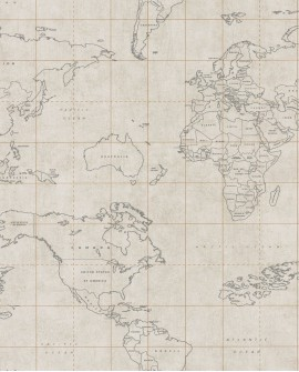 Papier peint Caselio Tonic Map World Beige 69471223