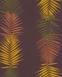 Papier peint Lutèce Bensimon Feuilles Palme Prune 51173113