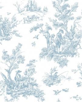 Papier peint Lutece Abby Rose Toile de Jouy Bleu AB27656