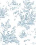Papier peint Lutece Abby Rose 4 Toile de Jouy Bleu AB27656