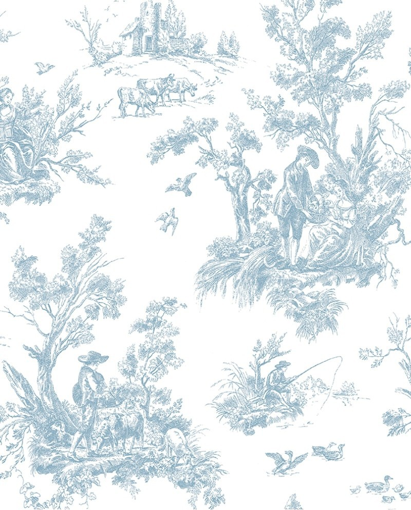 papier peint lutece abby rose toile de jouy bleu ab27656. Black Bedroom Furniture Sets. Home Design Ideas