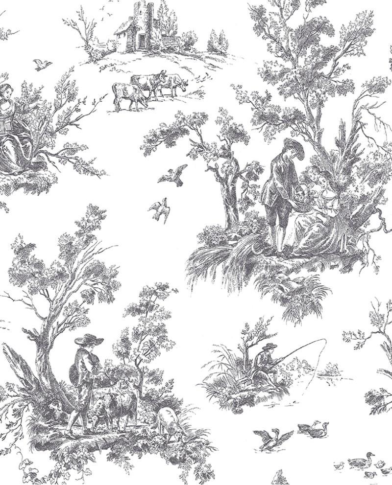 papier peint lutece abby rose toile de jouy noir ab42413. Black Bedroom Furniture Sets. Home Design Ideas