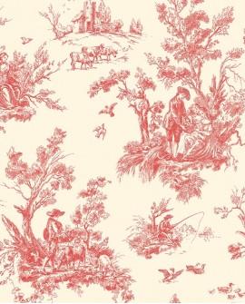Papier peint Lutece Abby Rose Toile de Jouy Rouge AB27657