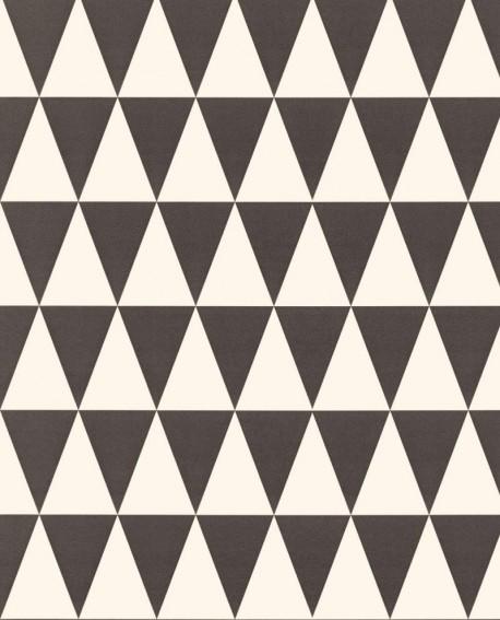 Papier Peint Rasch Greenhouse Triangle Géométrique Graphique Noir Et Blanc  Mat 128845