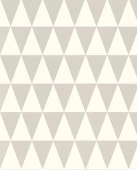 Papier peint Esta Home Greenhouse Triangle géométrique graphique gris et blanc 128842