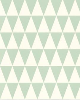 Papier peint Esta Home Greenhouse Triangle géométrique graphique menthe et blanc 128843