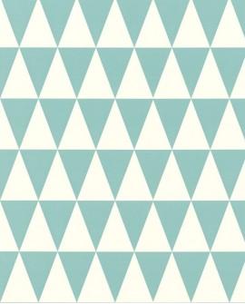 Papier peint Esta Home Greenhouse Triangle géométrique graphique turquoise et blanc 128844
