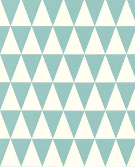 Papier peint Rasch Greenhouse Triangle géométrique graphique turquoise et blanc 128844