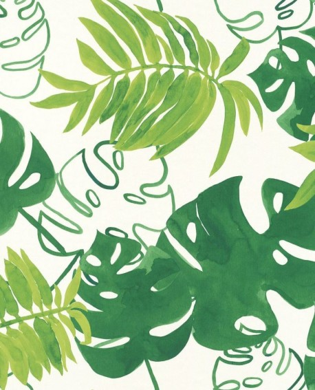 Papier peint rasch greenhouse feuilles tropicales vert - Papier peint lutece cuisine ...