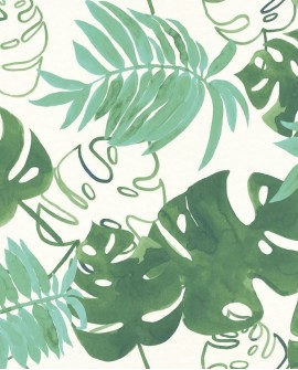 Papier peint Esta Home Greenhouse Feuilles tropicales Vert émeraude 138886