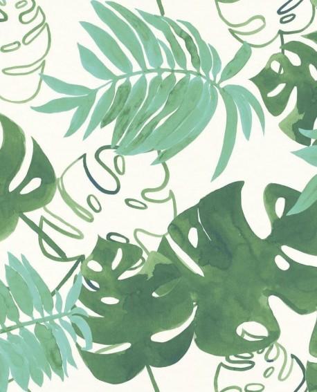 papier peint greenhouse feuilles tropicales vert meraude 138886. Black Bedroom Furniture Sets. Home Design Ideas