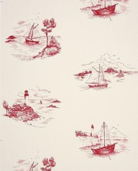 Papier peint Casadeco Marina Toile de Jouy Rouge MRN25078104