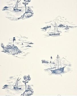Papier peint Casadeco Marina Toile de Jouy Bleu MRN25076131