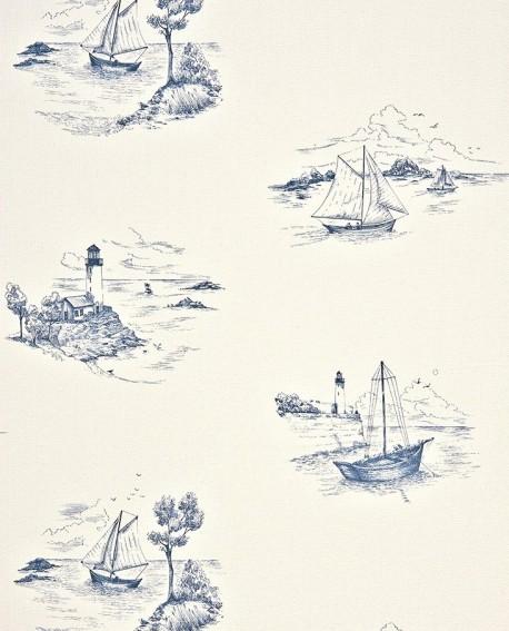 papier peint casadeco marina toile de jouy bleu mrn25076131. Black Bedroom Furniture Sets. Home Design Ideas